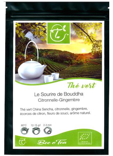 Thé vert bio - Le sourire de Bouddha - Citronnelle & Gingembre