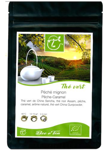 Thé vert et thé noir bio - Péché Mignon - Pêche & Caramel