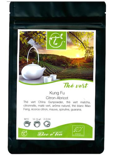 Thé vert et noir & maté bio - Kung Fu - Citron & Abricot